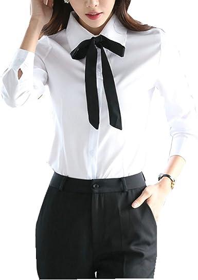Taiduosheng - Blusas de manga larga con botones blancos para mujer, camisas de trabajo: Amazon.es: Ropa y accesorios