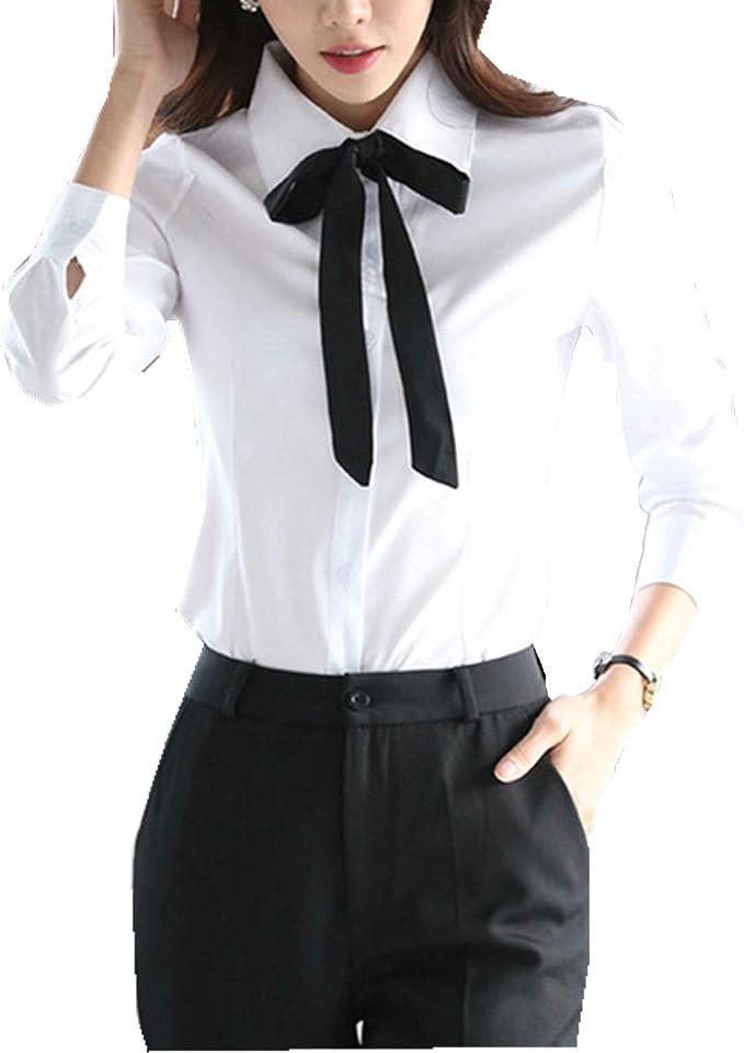 Taiduosheng - Blusas de manga larga para mujer, color blanco ...
