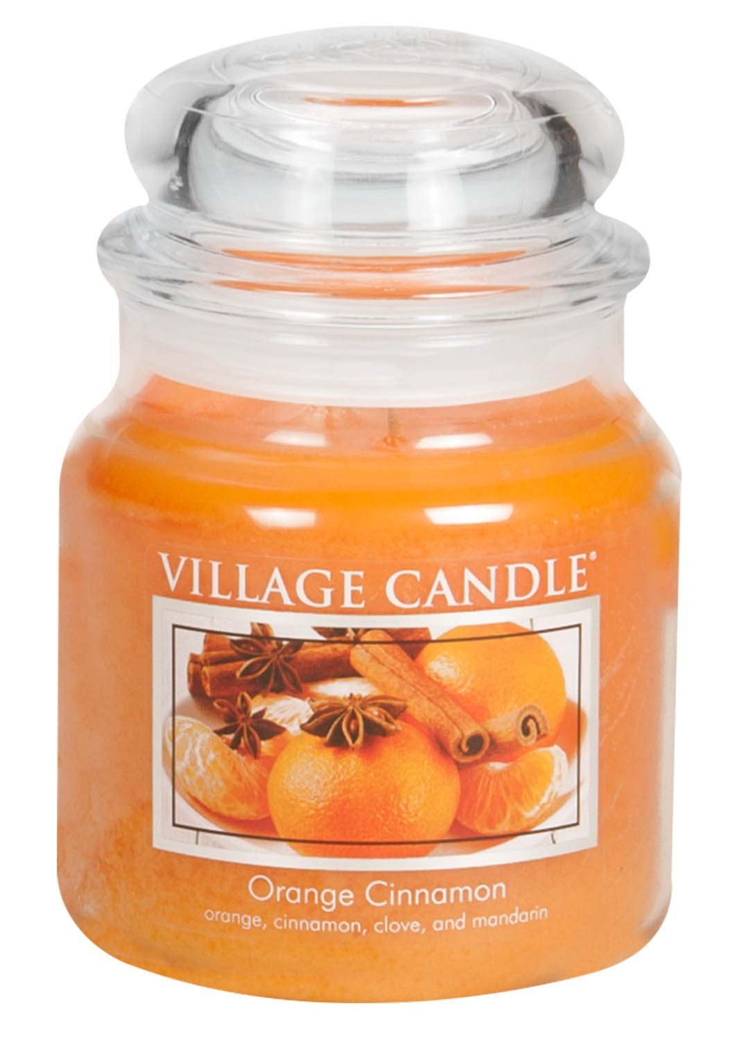 Village Candle Orange Cinnamon 16 oz Glass Jar Scented Candle, Medium