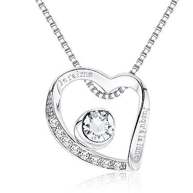 4c4c6f74a8ca Collier Coeur gravé Je t aime jusqu à la lune Cristal Swarovski cadeau  anniversaire