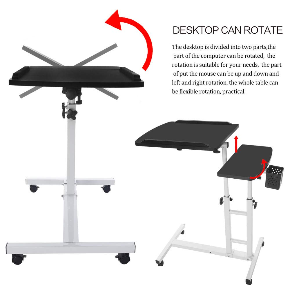 Black or CA. Transser Portable Laptop Rolling Cart Standing Table Height Adjustable Bedside Mobile Computer Stand Desk Coffee Table with Removable Wheels Shipping From NJ