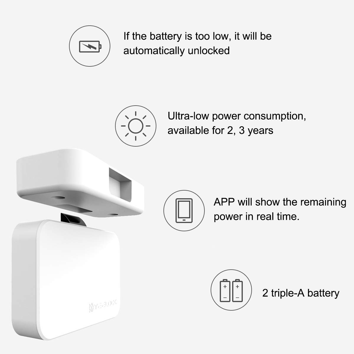 Cabinet Lock, Keyless Smart Lock for Drawer and Cabinet Bluetooth Smart Lock Perfectly for Bookcase, Bedside Table or Filing Cabinet, Support Android/iOS APP Unlock, Authorized Electric Key by YEELOC (Image #6)