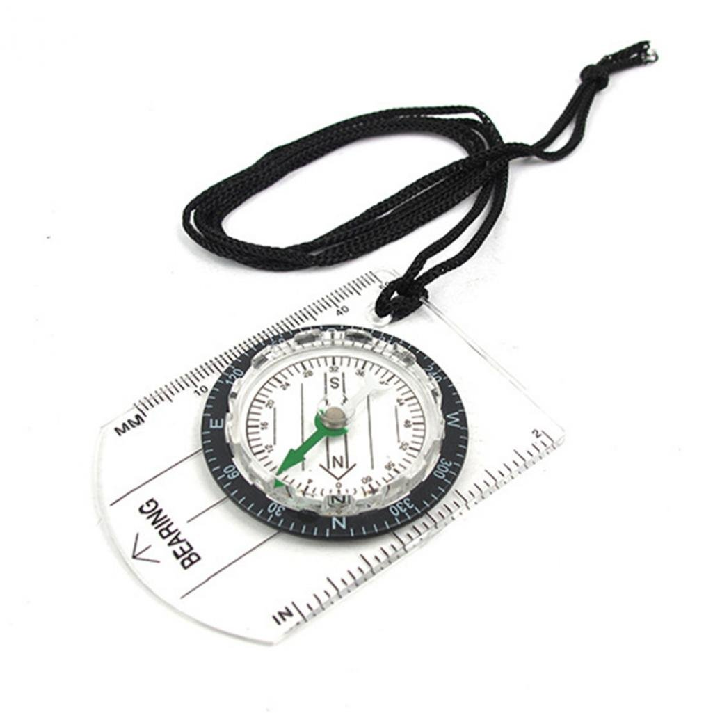 geshiintel Portable Camping Baseplate Compass Map Scale Ruler Outdoor Survival Pocket Tool - Clear