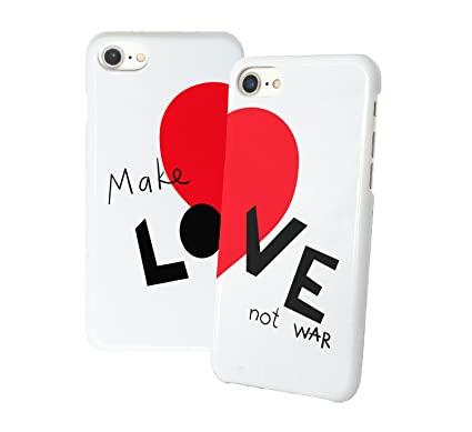 ff0c05d7c28b3 Make Love Not War Heart Symbol Matching Iphone Protective Hard PC Case Cover  For Couples Best