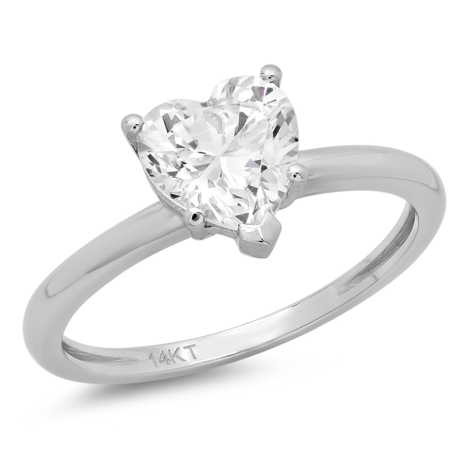Clara Pucci Brilliant Heart Cut Solitaire Engagement Wedding Promise Ring in Solid 14k White Gold, 1.85CT, Size 9