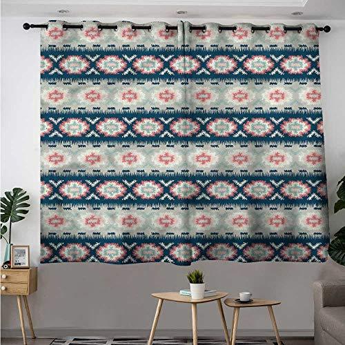 Aztec Blackout Curtain Blurry Tribal Flower Blooms Room Darkening Thermal W 63