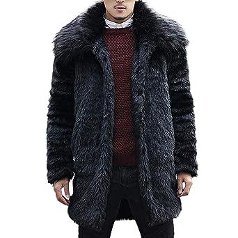 Celucke Mantel Herren Kunstfell Jacke Winter Pelzkragen,Männer Pelzmantel Felljacke Kunstpelz Lange Jacke Faux Fur