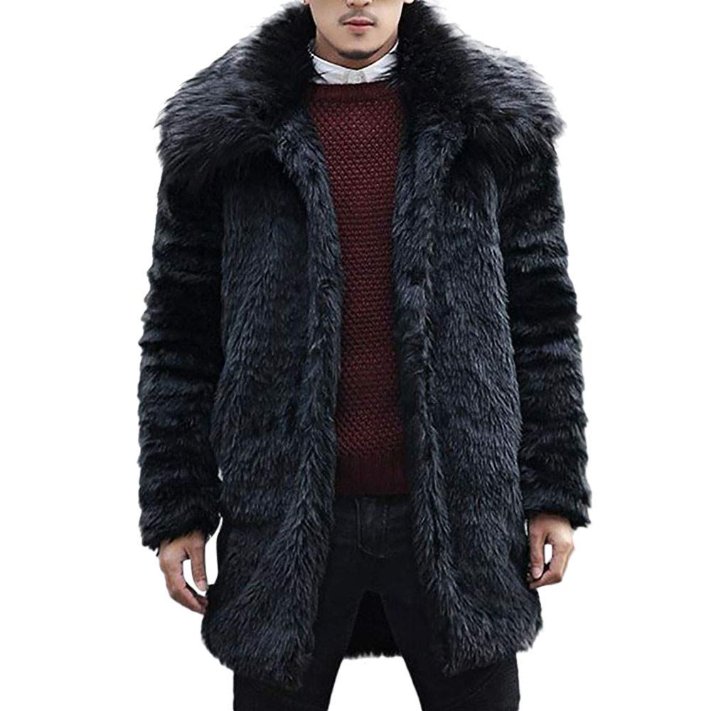 Clearance Forthery Mens Faux Fur Coat Long Jacket Winter Warm Overcoat Outwear(Black, US Size XL = Tag 2XL)