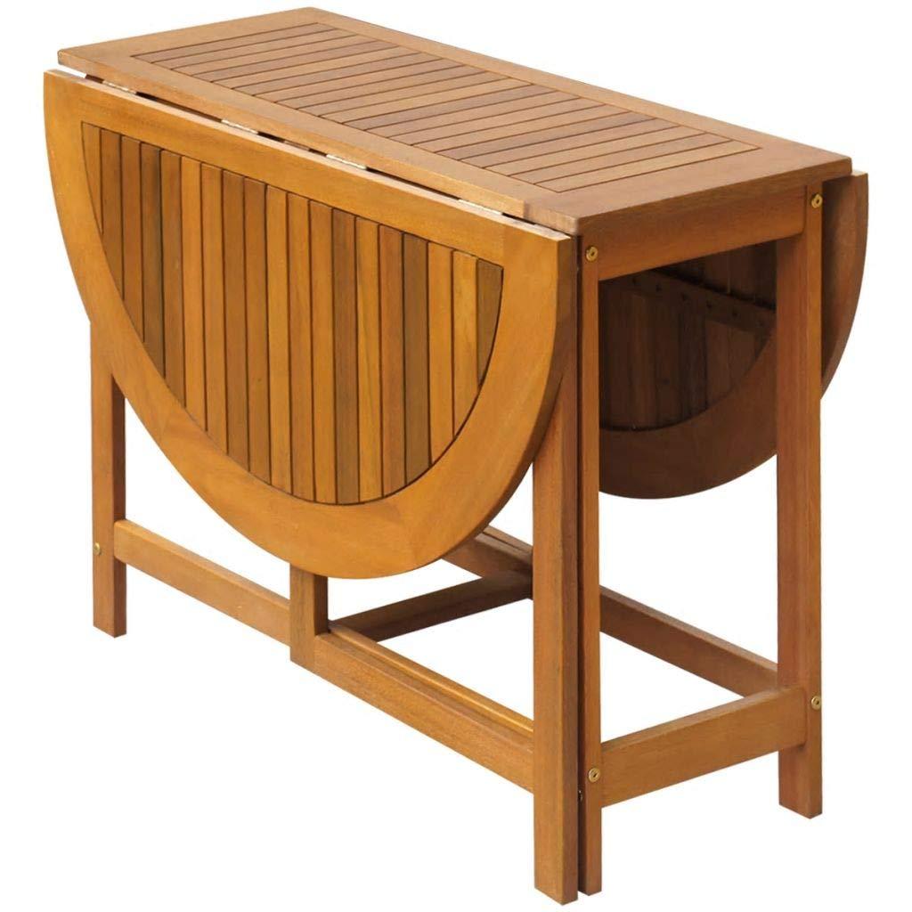 Tidyard Oval Drop Leaf Table Folding Deck Table Outdoor Acacia Wood 51.2inch x 35.4inch x 28.3inch (L x W x H) by Tidyard