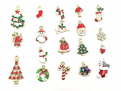 kinteshun christmas charms assorted enamel xmas elements pendant for holiday diy jewelry making19pcs - Christmas Charms
