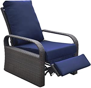 Outdoor recliner Outdoor Wicker Recliner Chair with 5.12'' thickness Cushions, Automatic Adjustable Rattan Patio Chaise Lounge Chairs, Aluminum Frame, UV Resistant and Rustless (Brown + Navy Blue)