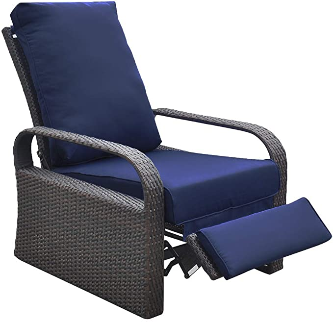 Outdoor Wicker Recliner Chair With 5 12 Cushions Automatic Adjustable Patio Chaise Lounge Chairs Aluminum Frame Uv Resistant And Rustless Navy Blue Garden Outdoor