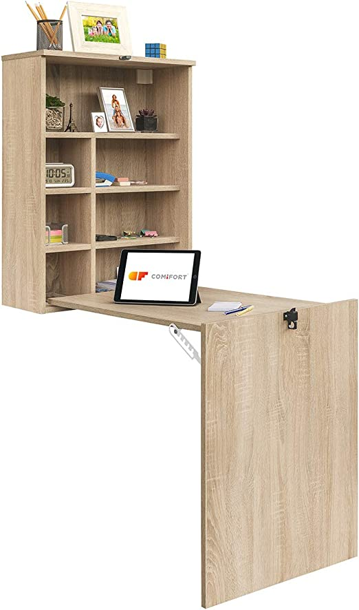 COMIFORT Escritorio Colgante - Mesa de Pared Plegable con Librería ...