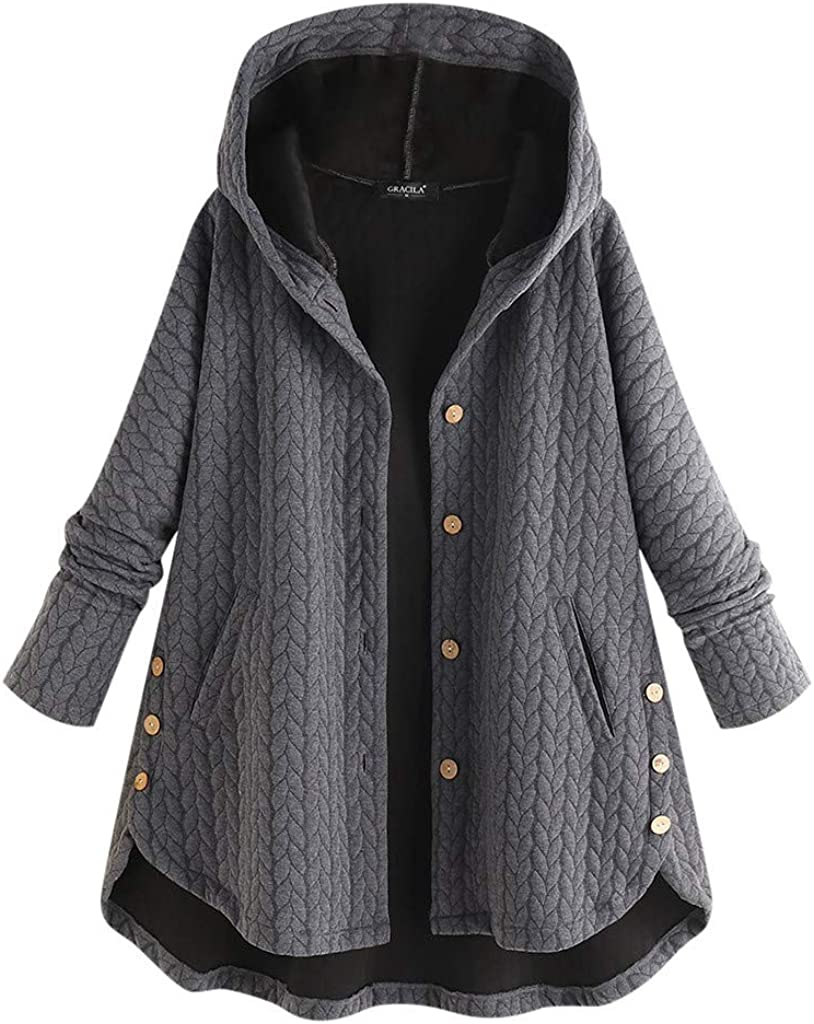Alough Women Coat Plus Size Casual Button Pockets Warm High Low Long Sleeve Hooded Jacket Winter Fall Snow 5X Coats: Clothing