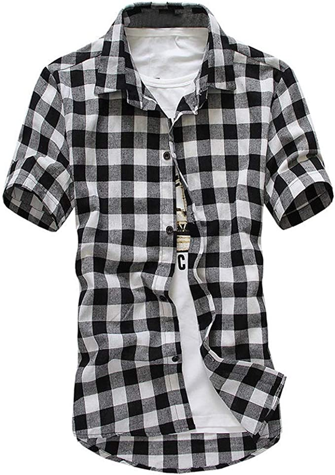 Men Polo Short Sleeve Shirt Classic Casual Top Plaid Design Breathable Cotton