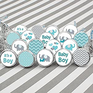 Teal Blue and Gray Elephant Boy Baby Shower Stickers (Set of 324)