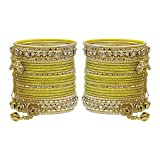 MUCH-MORE Gorgeous Collection Fashion Made Of Latkan Bangles for Women & Girls (Yellow, 2.4)