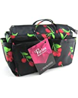 Periea - Organiseur de sac à main + mousqueton, 12 Compartiments - Ria (Noir avec des cerises rouges)