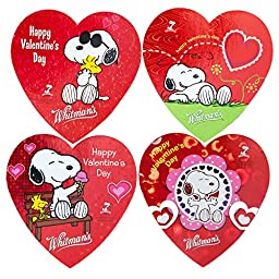 Whitmans Valentine Day Chocolates | Snoopy From Movie Peanut | 4 Different Love/heart Shaped Gift Boxes Each with 3 Assorted Pieces