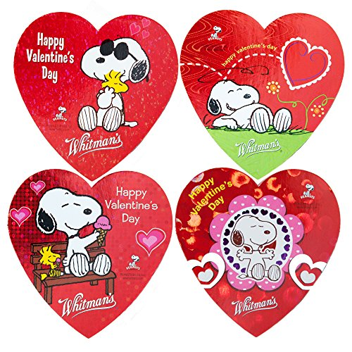 Whitmans Valentine Day Chocolates | Snoopy From Movie Peanut | 4 Different Love/heart Shaped Gift Boxes Each with 3 Assorted Pieces (Heart Box Valentine)