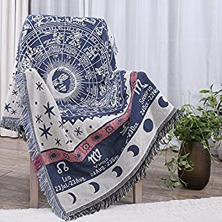 """TwelveZodiac Throw Blanket Couch with Fringe Blue Grey, Knitted Cotton Woven Blanket for Kids Adult Chunky, Bed Sofa Retro Travel Nap Blanket Sofa Warm Home Office Christmas Gift 51""""71"""""""