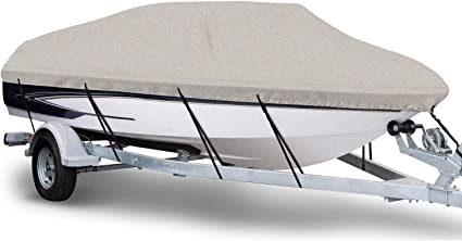 "Seamander 600D Gray Boat Cover,Fits Boat Length 23/'-24/' X 102/"" Beam Width"