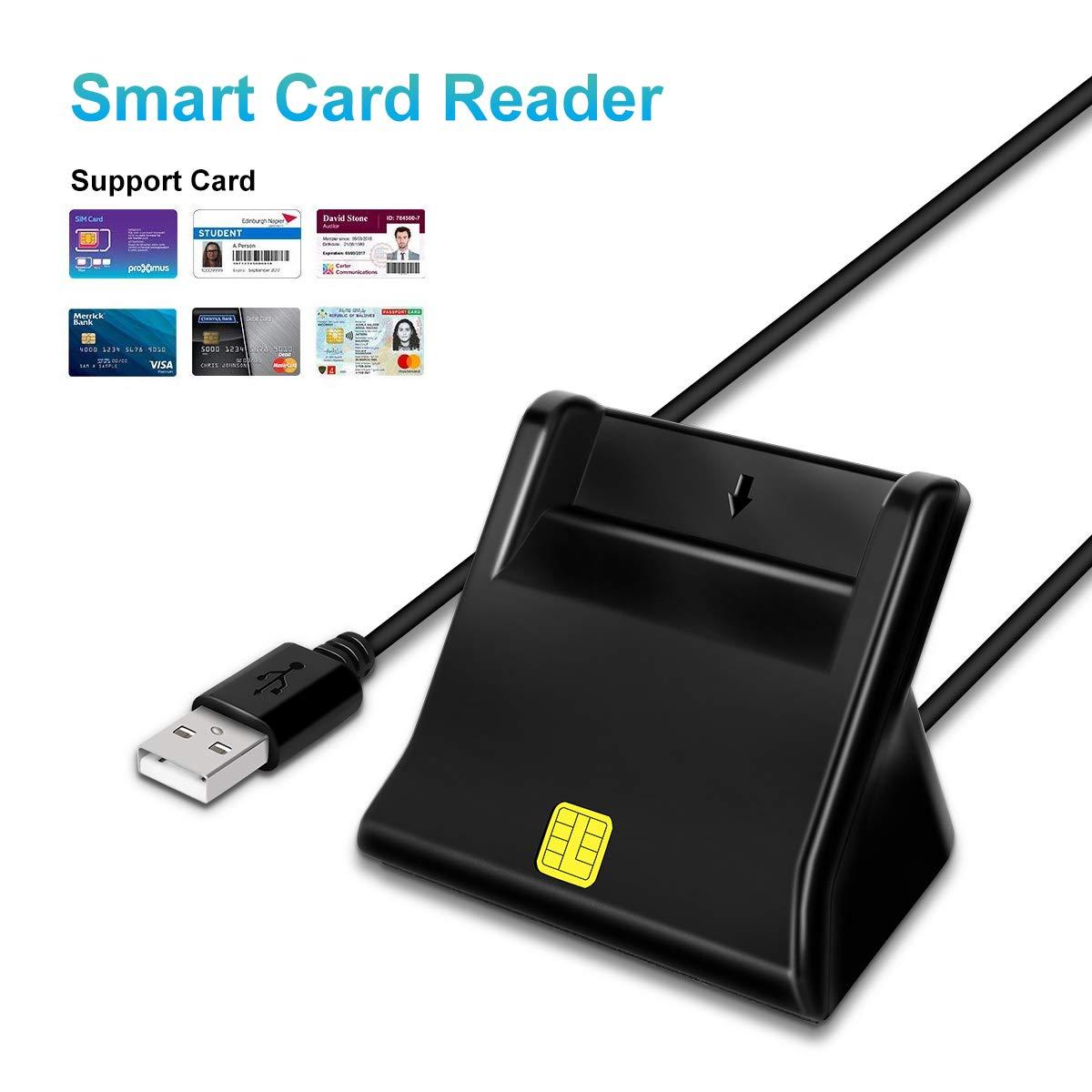 USB Smart Card Reader Compatible with Windows Mac OS X LANMU CAC Smart Card Reader,DOD Military USB Common Access CAC Card Reader Writer 32//64bit XP//Vista//7//8//11 ID Card//IC Bank Card Reader