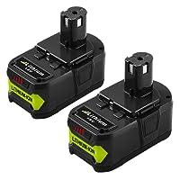 [2 Packs] Powayup 18V 5,0Ah/5000mAh Li-ion Remplacement de Batterie pour Ryobi ONE+ P108 P107 P104 P105 P102 P103 avec Indicateur LED RB18L40 RB18L50 RB18L25 RB18L15 RB18L13 BPL-1815 BPL-1820G BPL18151 BPL1820