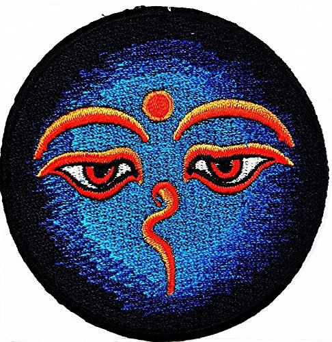 Eye Om Beautiful Hindu Buddha buddhist trance yoga retro boho hippie patch Symbol Jacket T-shirt Patch Sew Iron on Embroidered Sign Badge Costume. 3 x 3 inches.