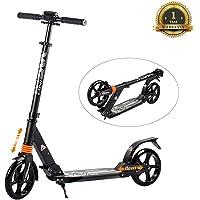 Windwalker Big Wheel Scooter 200 mm Trottinette City Scooter Hauteur Réglable en Aluminium Pliable Kick Scooter pour Adultes et Enfants Maximal 100KG Noir/Blanc