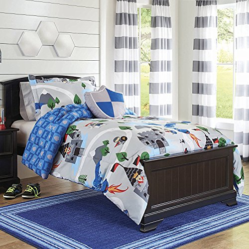 - 3pc Boys Grey Blue Knights Comforter Twin Twin Xl Set, Green Kids Bedding Shield Castle Dragon Mountain King War Prince Flags Design, Games Characters Fun Adventure Medieval Themed Teen, Polyester