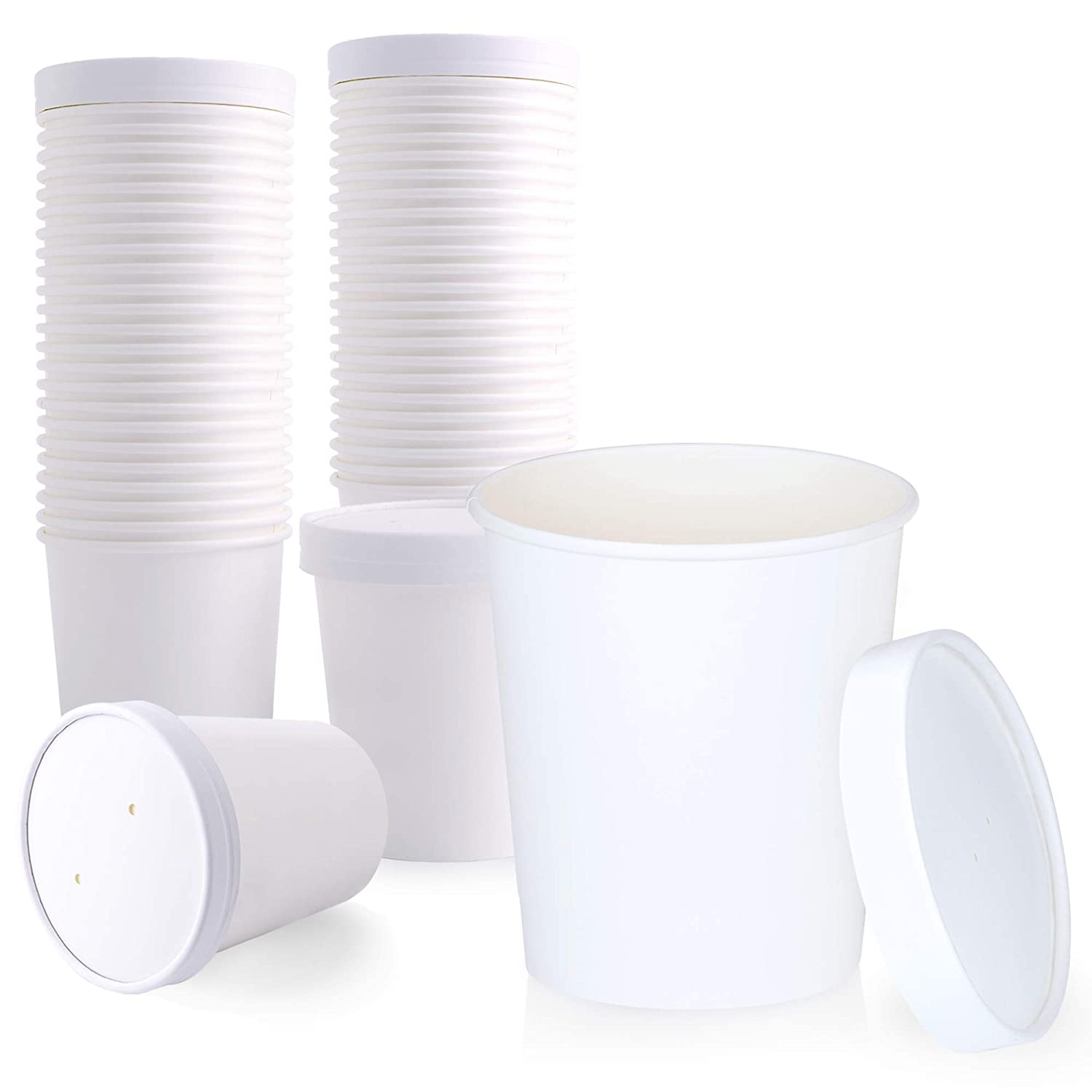 [25 Pack] 32 oz White Paper Food Cup with Vented Lid - Disposable Kraft Ice Cream Bucket, Rolled Rim Storage, Hot Cold Dish to Go Packaging Soup Cups Ramen Stews Salad Frozen Dessert Yogurt Container