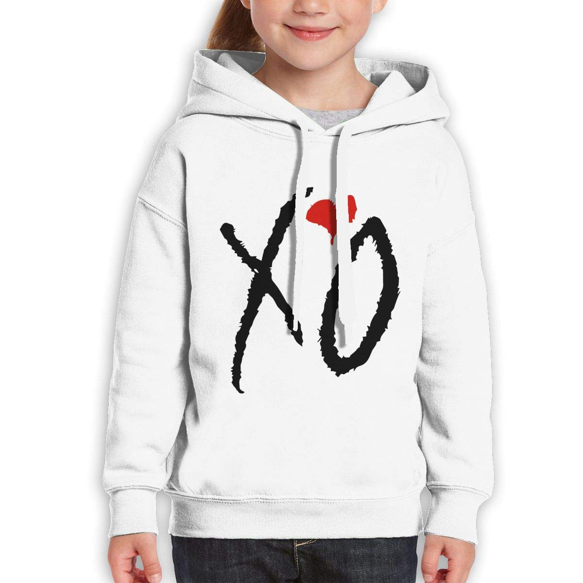 MUPTQWIU Youth Black XO Love Casual Style Travel White Hoody