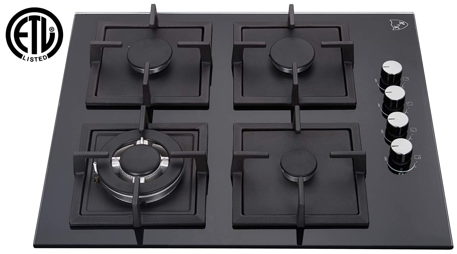 "K&H 4 Burner 24"" NATURAL Gas Glass Cooktop 4-GCW"