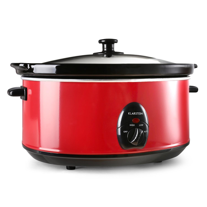 Klarstein Bristol 65 pentola slow cooker cuocivivande per la cottura lenta (capacità 6.5 litri, 300 Watt, 2 livelli di temperatura) - rosso