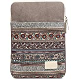 BLOOMSTAR 14 Inch Bohemian Canvas Protective Laptop Sleeve Bag Notebook Case Cover for MacBook, Chromebook, Acer, Dell, HP, Samsung, Sony (Vertical,Gray)