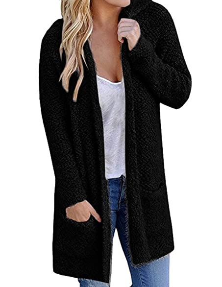 Womens Fleece Hoodie Lambwool Knit Long Sleeve Cardigan Sweaters ...