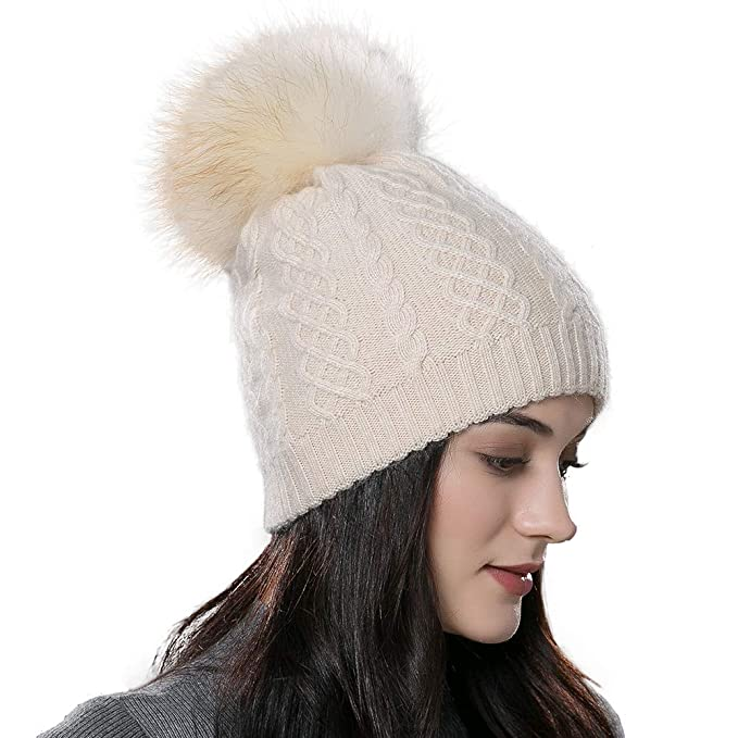 f0b7987e172 SOMALER Women Winter Hats Real Fur pom pom Beanie Knitted Fashion Cap 7  Colors