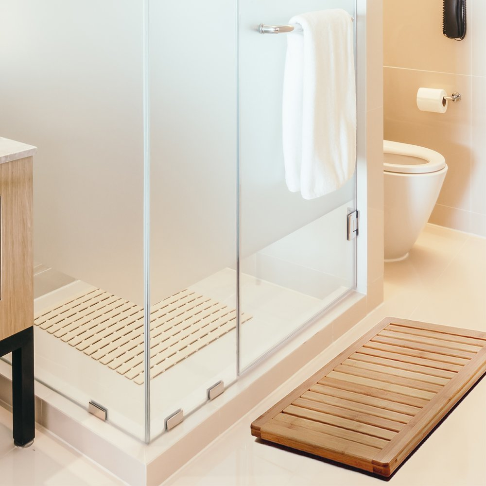 Amazon.com: Bamboo Bath Mat Shower Floor Mat Non Slip for Indoor ...