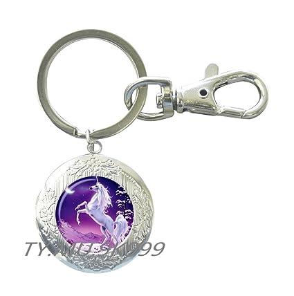 2abe5ae48a6f Amazon.com   Unicorn Locket Keychain