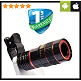 Priish® Crystal Clear Zoom Wide Angle HD Monocular Telescope for Mobile Camera Lens for Smartphone with Blur Background and Universal Clip Holder(Compatible with Android & IPhone) for All Smartphones,Laptops & Tablets - Red or Blue (Guarantee on product & 100% Money Back No Questions Asked)