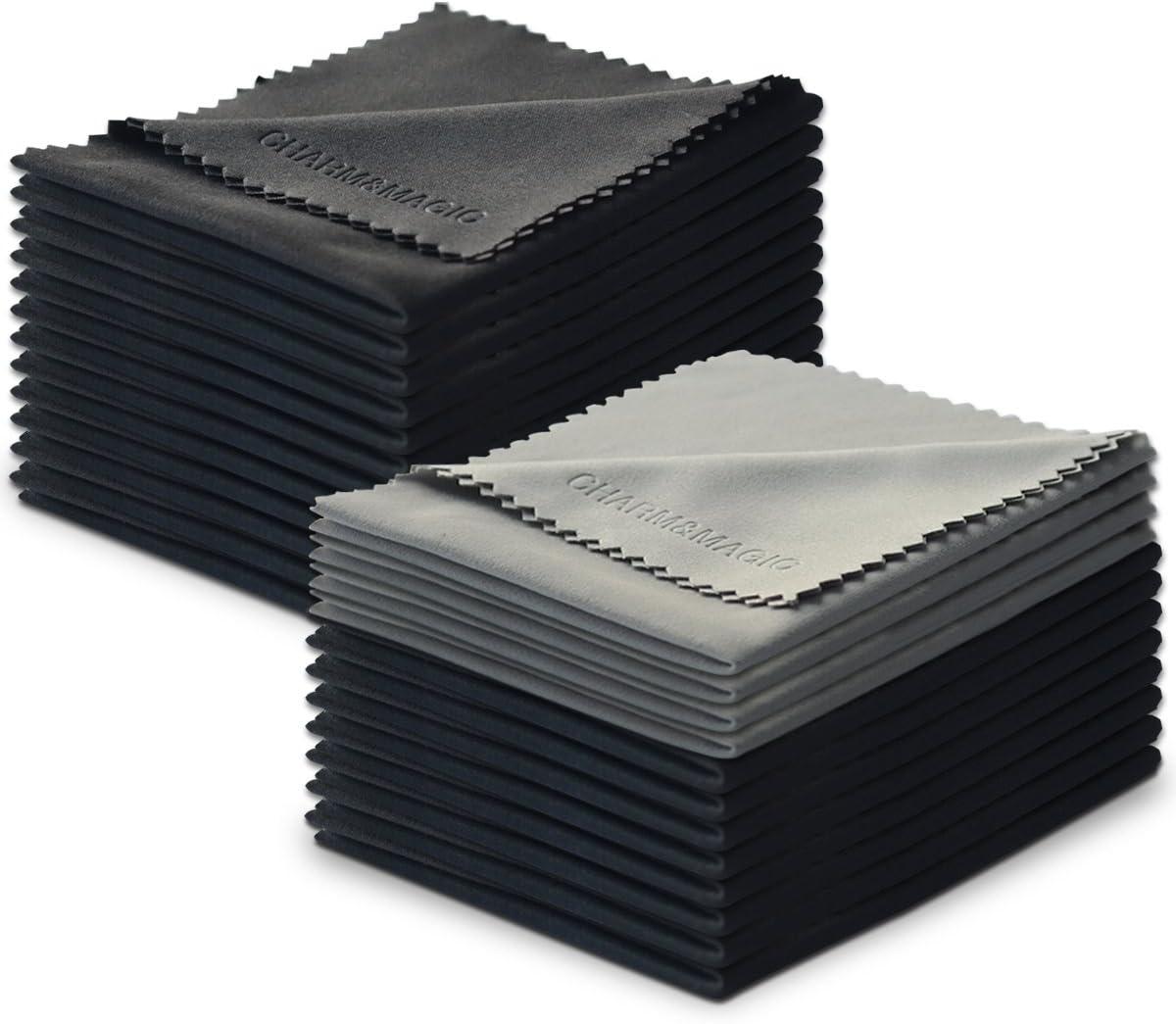 Charm & Magic Microfibra Paños de Limpieza para Todo Tipo de Pantallas - Conjunto de 24 nidades(20 Negro+ 4 Gris)