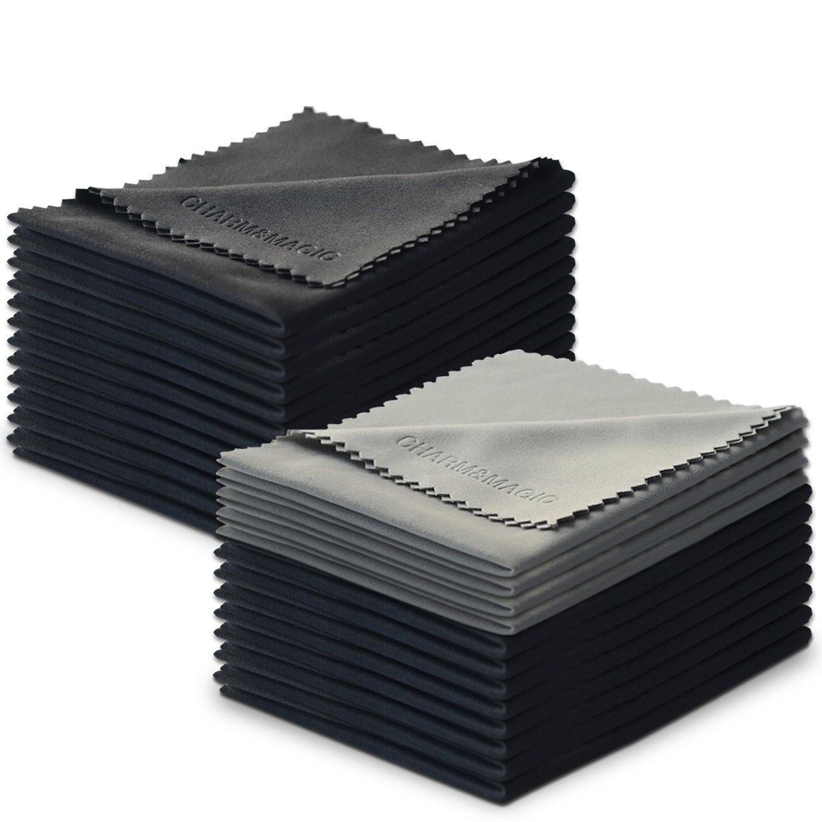 Charm & Maigc Extra Grande de Microfibra Pañ os de Limpieza para Todo Tipo de Screens-3 unidades (2 Negro + 1 Gris, 40 x 40 cm) Charm & Magic CM-CLEL-BG3