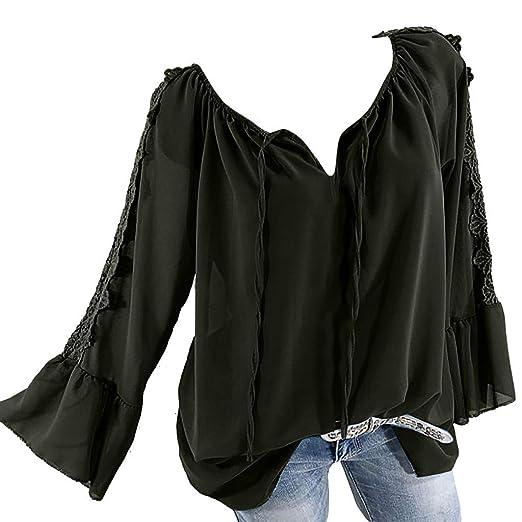edec4d59df40 V-Neck Solid Casual Blouses, QIQIU 2019 Women's Fashion Long Sleeve ...
