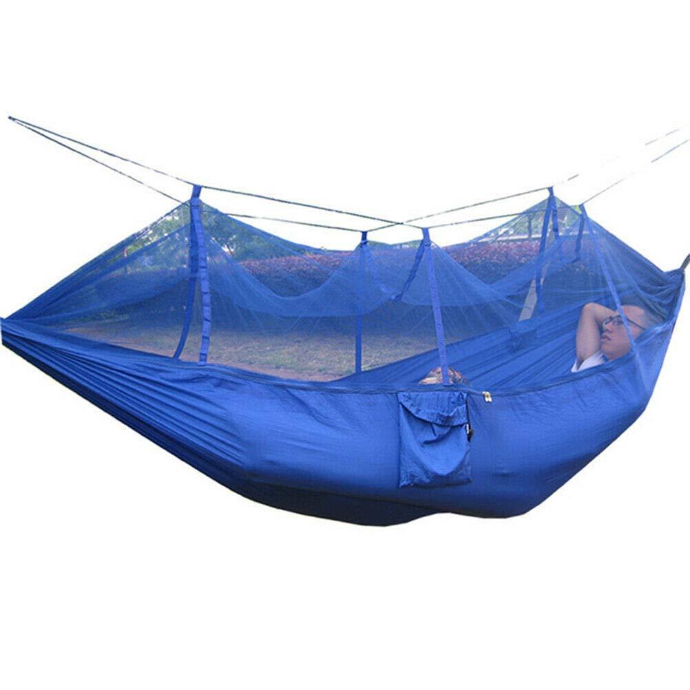 Boomer888 キャンプ ジャングル ブルー ハンモック ロープ テント 蚊帳 セット 2人用 ポータブル アウトドア 釣り ハイキング ホーム レジャー 旅行 ダブルハンギング ベッド スリープ ファブリック サイズ: 102.4 55 2インチ   B07PGMZP8C