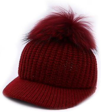 BeFur Femme Casquette Tricot /à Pompon Fourrure Chapeau B/éret Bonnet Visi/ère Fille Chaud Hiver