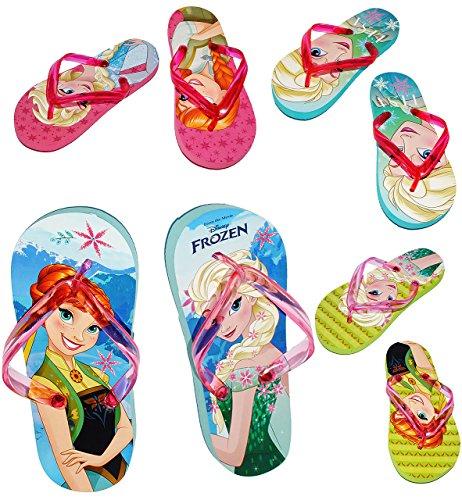 """Zehentrenner Sandalen - Gr. 33 / 34 - """" FROZEN - Disney die Eiskönigin """"- Badeschuhe mit Profilsohle - rutschfeste Schuhe Schuh / für Kinder - Jungen & Mädchen / Hausschuhe Gartenschuhe - Wasserschuhe"""