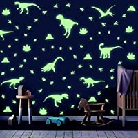 IARTTOP Luminous Dinosaurs Wall Decal, Creative Glowing Dinosaur Theme Footprints Volcano Wall Sticker for Baby Bedroom…
