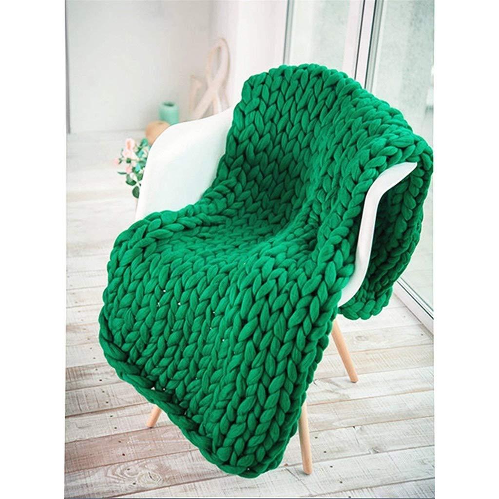 加重ウールかさばるニット毛布スローソファ毛布ハンドメイドペットベッドチェアマットラグ赤ちゃんシャワー写真プロップホームデコレーション、グリーン,80