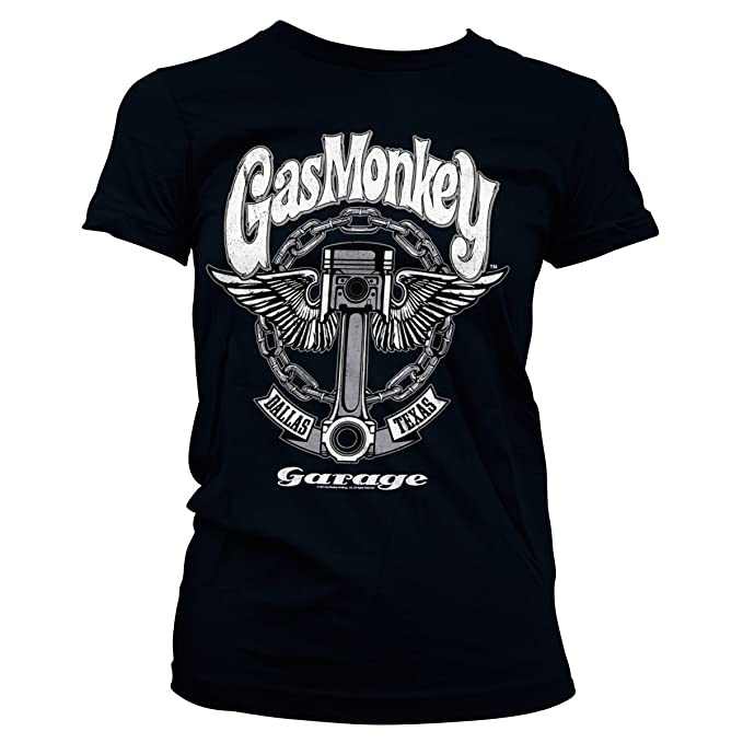 Gas Monkey Garage Oficialmente Licenciado Big Piston Mujer Camiseta: Amazon.es: Ropa y accesorios